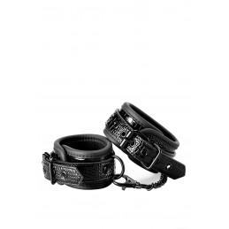 Hankle Cuffs Croco Menottes Chevilles Effet Peau de Serpent Noir